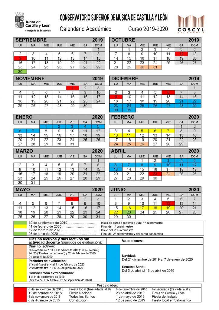 Calendario Escolar 2020 Cyl.Calendario Academico Coscyl